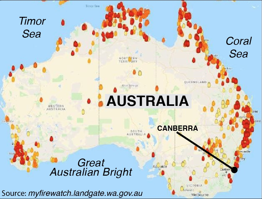 Australia map fire location